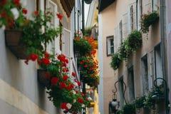 Narrow street decorated with many flowers, Hallstatt, Austria royalty free stock photography