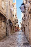 Narrow street in Dubrovnik Old Town Stock Photo