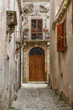 Narrow street of Erice medieval town, Sicily Royalty Free Stock Image