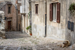Narrow street of Erice medieval town, Sicily Stock Images