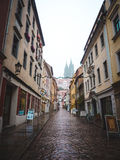 Narrow street in Europe. View of small houses on european street Stock Image