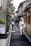 Narrow street famous Ponto Cho Landmark in Kyoto, Japan Royalty Free Stock Photography