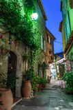 Narrow street with flowers in the old town Mougins in France. Night view Stock Photo