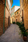 Narrow street in Fornalutx village Stock Photos