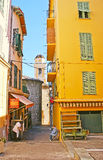 The narrow street of French town Royalty Free Stock Image