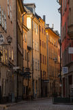 Narrow street, Gamla Stan, Old Town, Stockholm, Sweden Stock Images