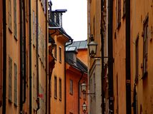 Narrow street. In Gamla Stan Stockholm royalty free stock photos
