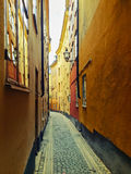 Narrow street in Gamla Stan, Stockholm Royalty Free Stock Photo