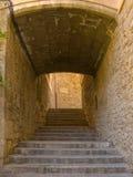 Narrow street in Girona Stock Image