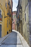 Narrow street in Girona Royalty Free Stock Images