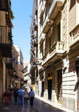 Narrow street in Gothic Quarter. Barcelona Royalty Free Stock Photography