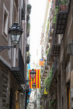 Narrow street in the Gothic quarters of Barcelona Stock Photo