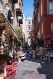 Narrow street of Gregorio Armeno in Naples royalty free stock photography