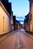 Narrow street in Groningen at night Royalty Free Stock Photos