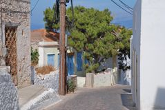 Narrow street, Halki island Royalty Free Stock Photos