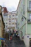 Narrow street of the Historic center of Coimbra. Coimbra, Portugal - July 2014: Narrow street of the Historic center of Coimbra stock image
