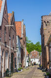 Narrow street in the historic center of Elburg Royalty Free Stock Images
