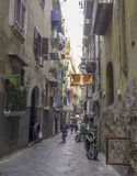 Narrow street in the historical center of Naples, Italy Royalty Free Stock Photos