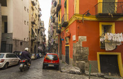 Narrow street in the historical center of Naples, Italy Stock Photography