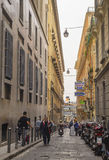 Narrow street in the historical center of Naples Royalty Free Stock Photos