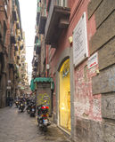 Narrow street in the historical center of Naples Royalty Free Stock Images