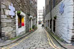 Narrow Street of Historical Centre of Plymouth Stock Photos