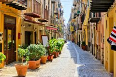 Free Narrow Street In The Old Town Of Cefalu, Sicily, Italy Royalty Free Stock Images - 151431579