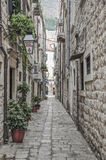 Narrow Street Inside Dubrovnik Old Town In Croatia. Royalty Free Stock Photography