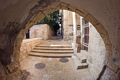 The narrow street in the Jewish Quarter of Jerusal Stock Photo