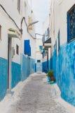 The narrow street at Kasbah of the Udayas in Rabat Stock Photography