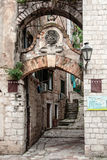 Narrow street in Kotor, Montenegro Royalty Free Stock Photo