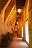 Narrow street and lamps in Italy, Europe Royalty Free Stock Images