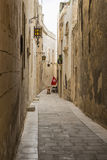 Narrow street of Silent City, Mdina, Malta Stock Photo