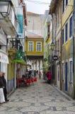 Narrow street leading to the main square of Aveiro, Portugal stock photo