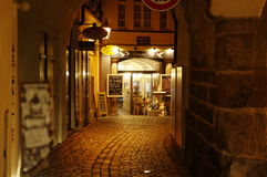 The narrow street leads to Old Town Square in Prague, Czech Republic Stock Images