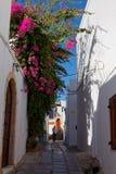 Narrow street of Lindos, Rhodes, Greece Stock Image