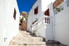 Narrow street in Lindos.Rhodes island Royalty Free Stock Photos