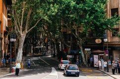 Narrow street with lush green vegetation, Palma de Mallorca. Palma de Mallorca, Spain - May 27, 2016: Unio street or calle Unio with lush green vegetation royalty free stock photography