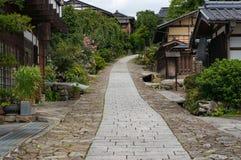 Narrow street of Magome postal town. Narrow block pavement street of historic Magome postal town, Kiso Valley, Gifu prefecture Stock Photos