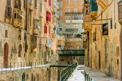 Narrow street in  Malta. Narrow street in Valletta - the capital of Malta Royalty Free Stock Image