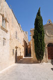 Narrow Street in Mdina. Narrow Street with little Chapel and Cypress Tree in the historic site of Mdina (The city of Silence) on Malta Royalty Free Stock Images