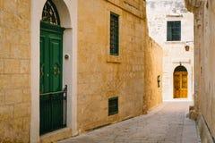 Narrow street of Mdina, Malta Stock Photo