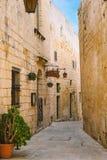 Narrow street of Mdina, Malta Stock Photography
