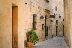Narrow street of Mdina, Malta Stock Images