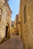 The narrow street of Mdina, the old capital of Malta. Royalty Free Stock Photography