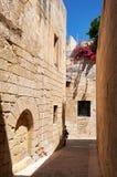 The narrow street of Mdina, the old capital of Malta. Stock Photo