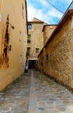 Narrow street in medeival town of Besalu Stock Images