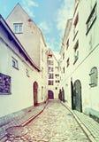 Narrow street in medieval city, Riga, Latvia, Europe Royalty Free Stock Photo