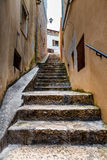 Narrow Street in the Medieval City of Rovinj, Istria Royalty Free Stock Image