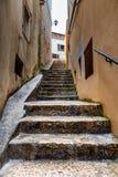 Narrow Street in the Medieval City of Rovinj, Istria. Croatia royalty free stock image
